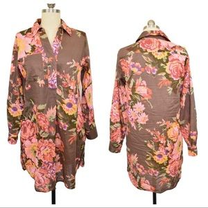 """Soft Surroundings """"Flora Tunic"""" Brown Floral"""